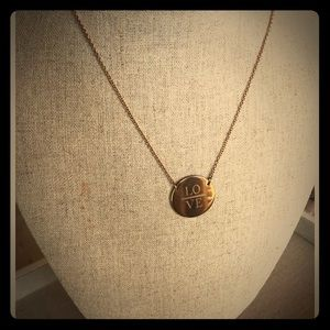 "Stella & Dot Engraved ""Love"" Disc (Rose Gold)"